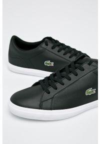 Czarne sneakersy Lacoste z okrągłym noskiem, z cholewką