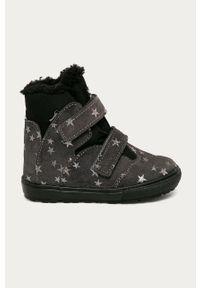 Szare buty zimowe Mrugała z cholewką, na zimę, na rzepy, z okrągłym noskiem