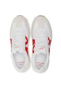 Armani Exchange - Sneakersy ARMANI EXCHANGE - XUX071 XV277 K520 Op.White/Red. Okazja: na co dzień, na spacer. Kolor: biały. Materiał: zamsz, materiał, skóra. Szerokość cholewki: normalna. Styl: casual, klasyczny, sportowy