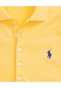 Ralph Lauren - RALPH LAUREN - Koszulka Polo Slim Fit. Typ kołnierza: polo. Kolor: żółty. Materiał: materiał, bawełna. Wzór: haft, aplikacja