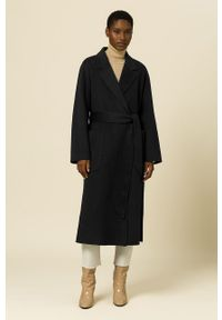 IVY & OAK - Płaszcz Celia. Okazja: na co dzień. Kolor: czarny. Materiał: materiał, wełna. Styl: casual