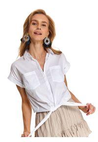 TOP SECRET - Koszula damska z wiązaniem na dole. Okazja: do pracy, na co dzień. Kolor: biały. Styl: elegancki, casual