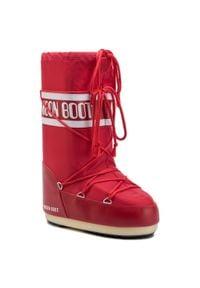 Czerwone śniegowce Moon Boot na zimę, z cholewką