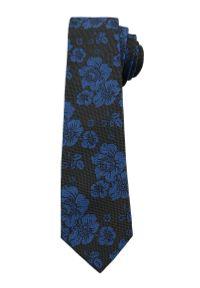Alties - Popielaty Elegancki Krawat w Chabrowe Kwiatki -ALTIES- 6 cm, Męski, Motyw Florystyczny. Kolor: niebieski. Materiał: tkanina. Wzór: kwiaty. Styl: elegancki