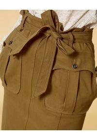 Manila Grace - MANILA GRACE - Midi spódnica z kieszeniami. Kolor: brązowy. Materiał: bawełna. Styl: sportowy