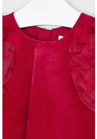 Czerwona sukienka Mayoral z krótkim rękawem, z aplikacjami, rozkloszowana, mini