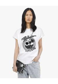 Balmain - BALMAIN - T-shirt z nadrukiem w palmy. Okazja: na co dzień. Kolor: biały. Materiał: bawełna, jeans. Wzór: nadruk. Styl: klasyczny, casual, rockowy