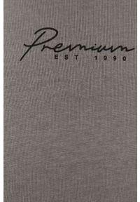 Szary t-shirt Premium by Jack&Jones casualowy, z nadrukiem, na co dzień