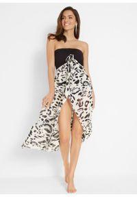 Sukienka plażowa z dekoltem bandeau bonprix czarno-biały z nadrukiem. Okazja: na plażę. Kolor: czarny. Wzór: nadruk