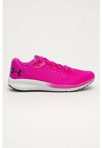 Różowe buty sportowe Under Armour z okrągłym noskiem, na sznurówki