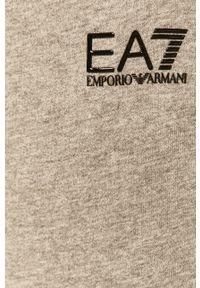Szare spodnie dresowe EA7 Emporio Armani z aplikacjami