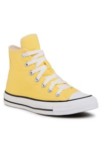 Żółte buty sportowe Converse na co dzień, z cholewką
