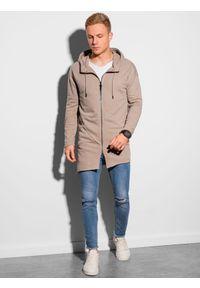 Ombre Clothing - Bluza męska rozpinana z kapturem B1189 - popielata - XXL. Typ kołnierza: kaptur. Kolor: szary. Materiał: poliester, bawełna