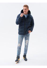 Ombre Clothing - Kurtka męska zimowa C502 - ciemnoniebieska - XXL. Kolor: niebieski. Materiał: poliester. Sezon: zima