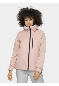 Różowa kurtka narciarska 4f na zimę, z kapturem
