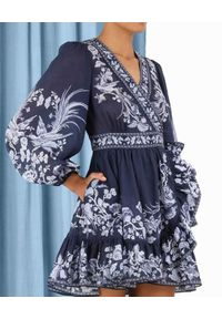 ZIMMERMANN - Sukienka mini Aliane. Kolor: niebieski. Materiał: materiał. Wzór: nadruk, aplikacja, kwiaty. Długość: mini
