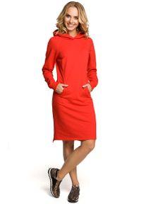 Czerwona sukienka MOE z kapturem, sportowa, sportowa
