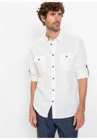 Koszula z lnem, długi rękaw bonprix biały. Kolor: biały. Materiał: len. Długość rękawa: długi rękaw. Długość: długie. Styl: sportowy