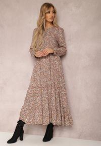 Renee - Khaki Sukienka Caellial. Kolor: brązowy. Wzór: kwiaty, aplikacja. Typ sukienki: proste. Styl: klasyczny. Długość: maxi