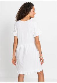 Sukienka shirtowa z falbanami bonprix biały. Kolor: biały. Sezon: lato. Długość: midi
