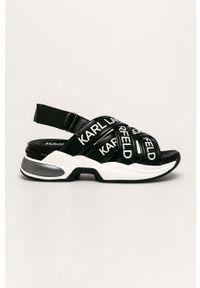 Czarne sandały Karl Lagerfeld na obcasie, na średnim obcasie, na rzepy