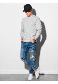 Ombre Clothing - Bluza męska bez kaptura B1153 - szary melanż - XXL. Typ kołnierza: bez kaptura. Kolor: szary. Materiał: bawełna, jeans, poliester. Wzór: melanż. Styl: klasyczny, elegancki