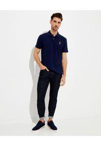 Ralph Lauren - RALPH LAUREN - Granatowa koszulka z misiem Custom Slim Fit. Typ kołnierza: polo. Kolor: niebieski. Materiał: prążkowany, bawełna. Wzór: haft