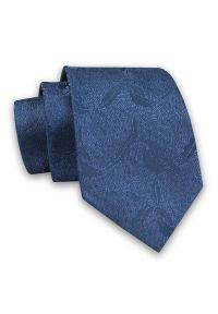 Alties - Niebieski Elegancki Męski Krawat -ALTIES- 7cm, Stylowy, Klasyczny, w Tłoczony Wzór. Kolor: niebieski. Materiał: tkanina. Styl: klasyczny, elegancki
