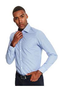 Niebieska koszula TOP SECRET w kratkę, elegancka, z długim rękawem