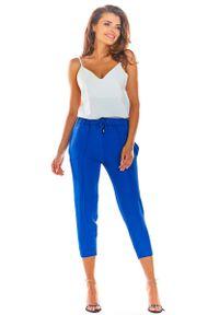 Niebieskie spodnie z wysokim stanem Awama eleganckie