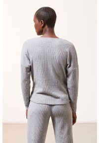 Szara piżama Etam długa, gładkie