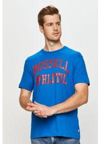 Russell Athletic - T-shirt. Okazja: na co dzień. Kolor: niebieski. Materiał: dzianina. Wzór: nadruk. Styl: casual