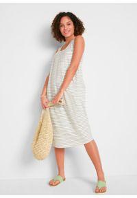 Sukienka z dżerseju z bawełny organicznej, z kieszeniami i szerokimi ramiączkami bonprix dymny zielony - biały w paski. Kolor: zielony. Materiał: jersey, bawełna. Długość rękawa: na ramiączkach. Wzór: paski