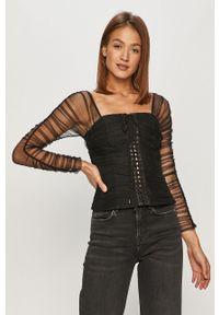 Czarna bluzka Miss Sixty długa, na co dzień, z dekoltem karo