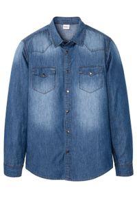 """Koszula dżinsowa Slim Fit, długi rękaw bonprix jasnoniebieski denim """"used"""". Kolor: niebieski. Materiał: denim. Długość rękawa: długi rękaw. Długość: długie"""