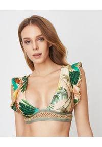 DEL MAAR - Kolorowy top od bikini. Kolor: zielony. Materiał: tkanina, materiał. Wzór: kolorowy