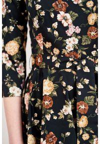 Marie Zélie - Sukienka Alana Aenean. Typ kołnierza: kokarda. Materiał: bawełna, wiskoza, materiał, elastan, skóra