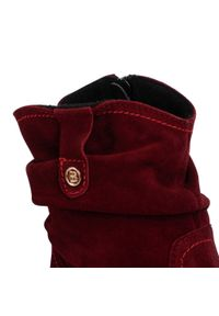 Czerwone botki Baldaccini na obcasie, z cholewką, na średnim obcasie