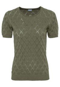 Zielony sweter bonprix z krótkim rękawem, krótki, w prążki