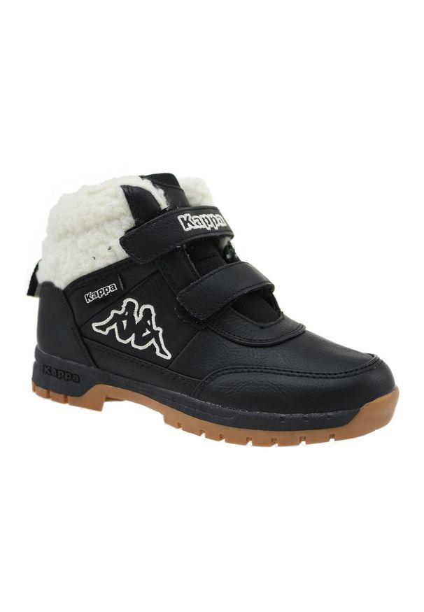 Czarne buty trekkingowe Kappa na zimę, w kolorowe wzory, z cholewką