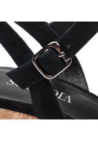Czarne sandały Sca'viola casualowe, z aplikacjami