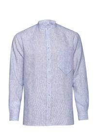 Niebieska koszula VEVA ze stójką, casualowa