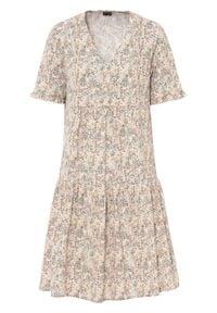 Sukienka z falbanami bonprix beżowy w roślinny wzór. Kolor: beżowy