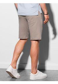Ombre Clothing - Krótkie spodenki męskie dresowe W299 - popielate - XXL. Kolor: szary. Materiał: dresówka. Długość: krótkie. Sezon: lato