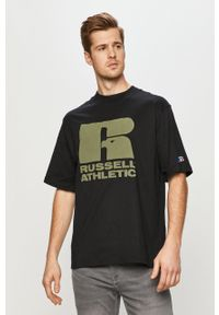 Czarny t-shirt Russell Athletic z nadrukiem, na co dzień, casualowy