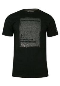 Czarny t-shirt Pako Jeans na co dzień, krótki, z krótkim rękawem
