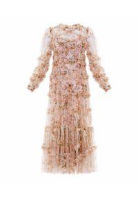 NEEDLE & THREAD - Sukienka midi Garland Flora. Kolor: różowy, fioletowy, wielokolorowy. Materiał: szyfon, materiał. Wzór: kwiaty, nadruk. Długość: midi