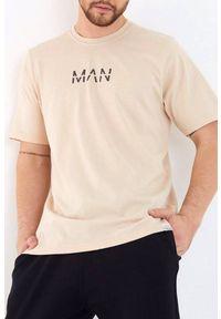 Beżowy t-shirt IVET casualowy, na co dzień