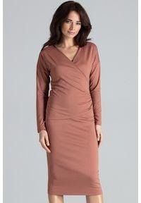 Sukienka kopertowa, elegancka, z kopertowym dekoltem, midi