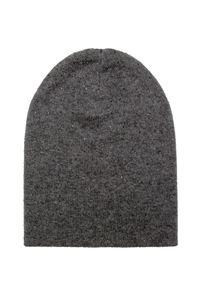 Szara czapka William Sharp elegancka, z aplikacjami